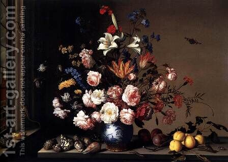 Vase of Flowers by a Window by Balthasar Van Der Ast - Reproduction Oil Painting