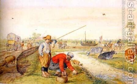 Fisherman at a Ditch by Hendrick Avercamp - Reproduction Oil Painting