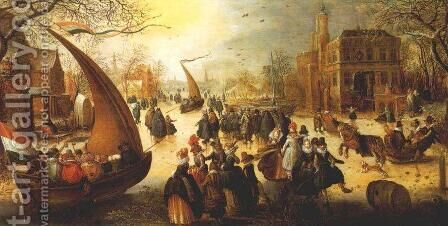 Landscape with Frozen Canal, Skaters and Ice Boats by Hendrick Avercamp - Reproduction Oil Painting