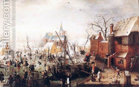 Winter Scene at Yselmuiden by Hendrick Avercamp - Reproduction Oil Painting