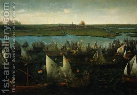 Battle of Haarlemmermeer, 26 May 1573 by Cornelis Hendricksz. The Younger Vroom - Reproduction Oil Painting
