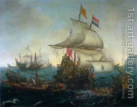 Dutch Ships Ramming Spanish Galleys off the Flemish Coast in October 1602 by Cornelis Hendricksz. The Younger Vroom - Reproduction Oil Painting