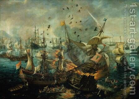 The Explosion of the Spanish Flagship during the Battle of Gibraltar, 25 April 1607 by Cornelis Hendricksz. The Younger Vroom - Reproduction Oil Painting