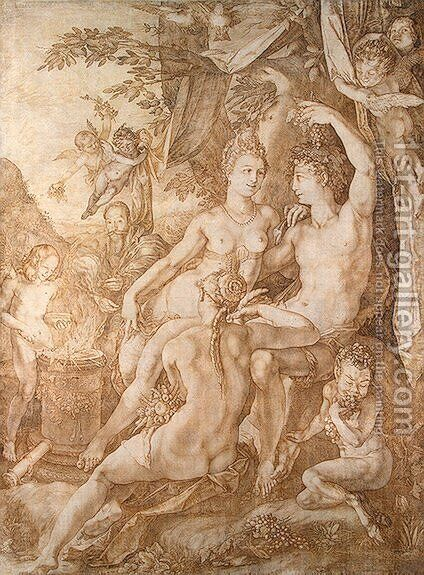 Bacchus, Venus and Ceres by Hendrick Goltzius - Reproduction Oil Painting