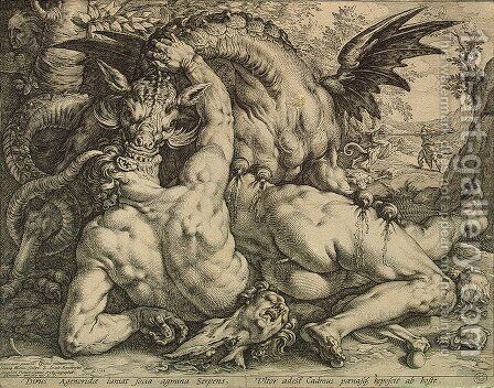 Dragon Devouring the Companions of Cadmus by Hendrick Goltzius - Reproduction Oil Painting