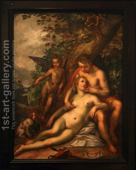 Venus and Adonis by Hendrick Goltzius - Reproduction Oil Painting
