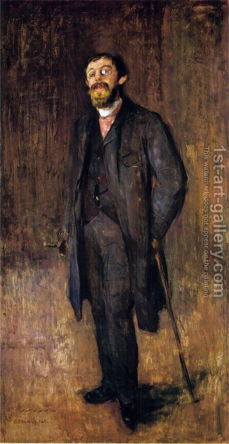 Portrait of the Painter Jensen-Hjell by Edvard Munch - Reproduction Oil Painting