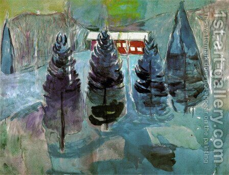 Red House and Spruces by Edvard Munch - Reproduction Oil Painting
