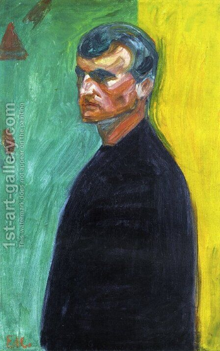 Self Portrait (Against Two-Colored Background) 2 by Edvard Munch - Reproduction Oil Painting