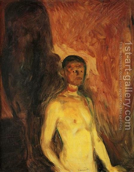 Self-Portrait in Hell by Edvard Munch - Reproduction Oil Painting