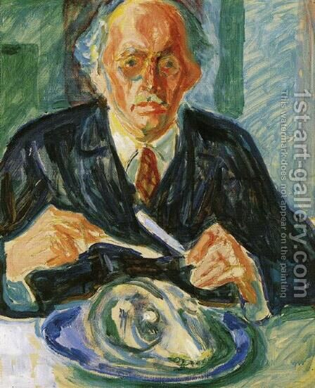 Self-Portrait with Cod's Head by Edvard Munch - Reproduction Oil Painting