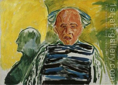 Self-Portrait with Striped Pullover by Edvard Munch - Reproduction Oil Painting