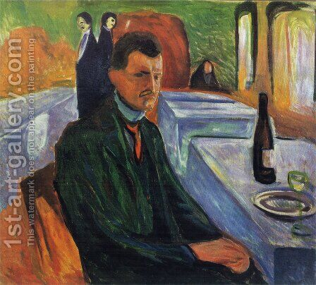 Self-portrait in a bottle of wine 1906 by Edvard Munch - Reproduction Oil Painting