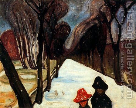 Snow Falling in the Lane by Edvard Munch - Reproduction Oil Painting
