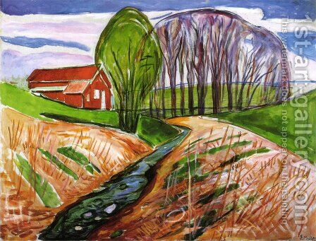 Spring landscape at the red house 1935 by Edvard Munch - Reproduction Oil Painting