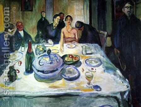 The Wedding of the Bohemian, Munch Seated on the Far Left by Edvard Munch - Reproduction Oil Painting