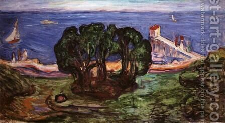 Trees on the Shore by Edvard Munch - Reproduction Oil Painting