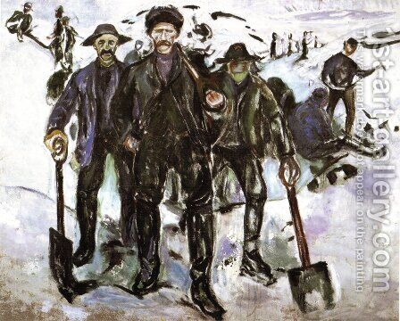 Workers in the Snow by Edvard Munch - Reproduction Oil Painting