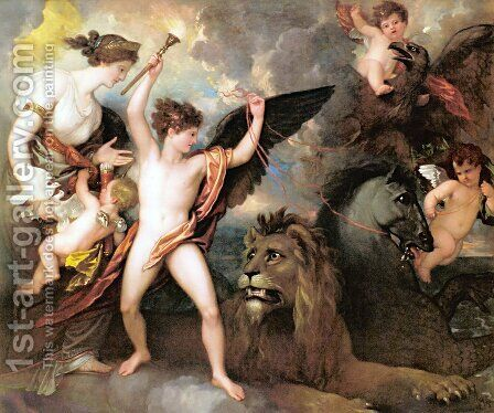 Omnia Vincit Amor aka The Power of Love in the Three Elements by Benjamin West - Reproduction Oil Painting
