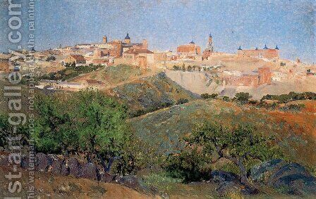Vista de la parte occidental del norte de Toledo desde la vega baja by Aureliano de Beruete y Moret - Reproduction Oil Painting