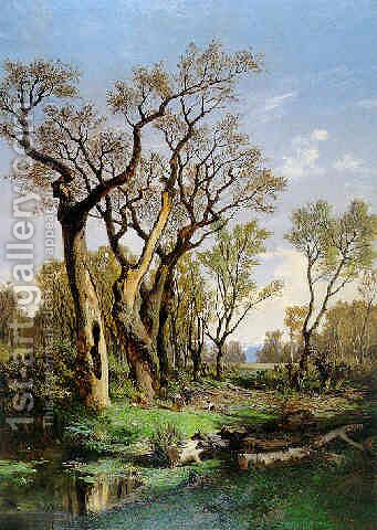Bosque con leñadores by Carlos de Haes - Reproduction Oil Painting