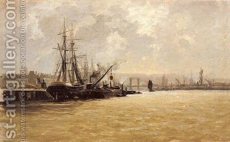 Puerto de Rouen 2 by Carlos de Haes - Reproduction Oil Painting