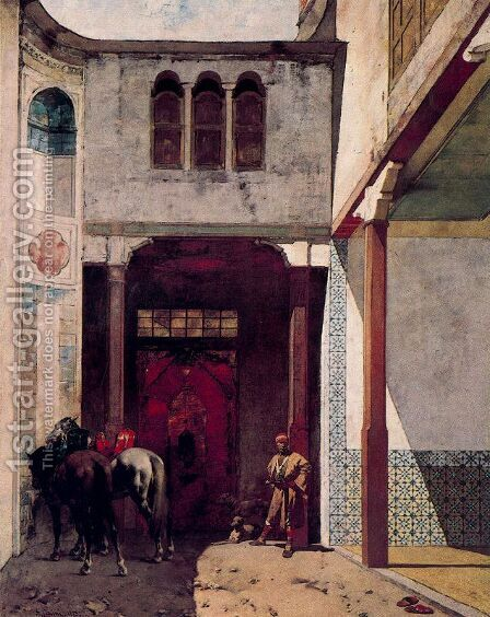 Visit to a mosque by Alberto Pasini - Reproduction Oil Painting