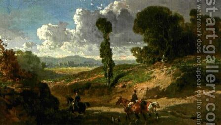Two riders in a valley by Alfred Dedreux - Reproduction Oil Painting