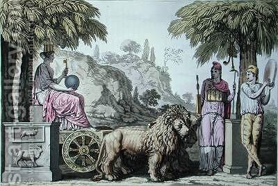 Cybele on her chariot and Attis from Le Costume Ancien ou Moderne by (after) Monticelli, Angelo - Reproduction Oil Painting