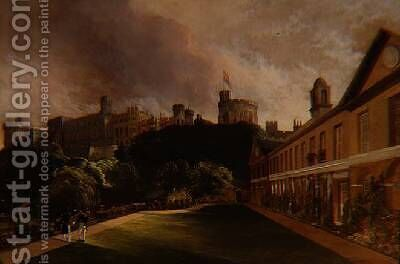 View of Windsor Castle from Travers College by Alfred Montague - Reproduction Oil Painting