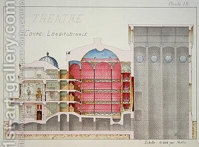Cross section of a Theatre plate IX from a folio of designs 1870 by H. Monnot - Reproduction Oil Painting
