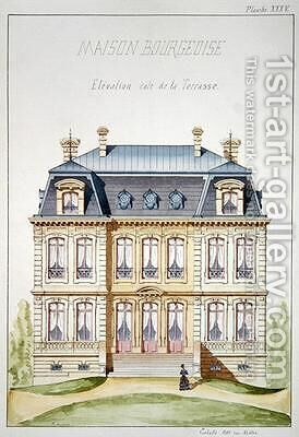 Terrace elevation of a house for the Bourgeoisie by H. Monnot - Reproduction Oil Painting
