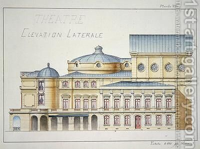 Lateral Elevation of a Theatre by H. Monnot - Reproduction Oil Painting