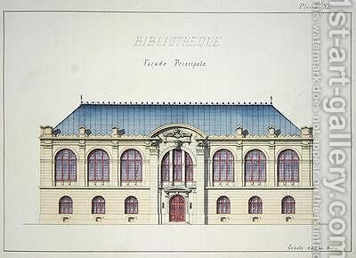 Main facade of a Library plate XII from a folio of designs by H. Monnot - Reproduction Oil Painting
