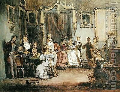 An Evening at the House of Madame X by Henri Bonaventure Monnier - Reproduction Oil Painting