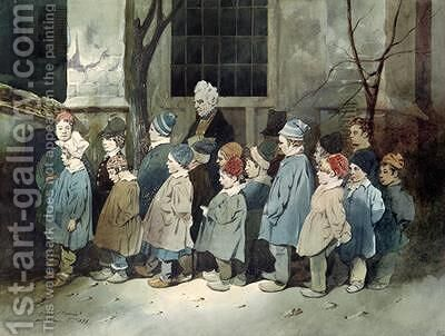 Schoolboys in the Playground by Henri Bonaventure Monnier - Reproduction Oil Painting