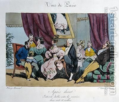 Humorous Depiction of the Behaviour and Conversation of Guests After Dinner by Henri Bonaventure Monnier - Reproduction Oil Painting