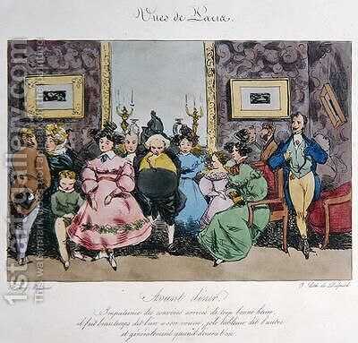 Humorous Depiction of the Behaviour and Conversation of Guests before Dinner cartoon for Vues de Paris esquisses morales et philosophiques by Henri Bonaventure Monnier - Reproduction Oil Painting