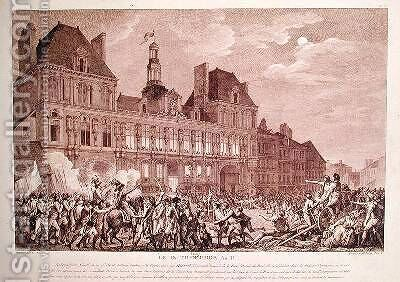 Robespierre Saint-Just Couthon and Hanriot Taking Refuge in the Hotel-de-Ville in Paris by (after) Monnet, Charles - Reproduction Oil Painting