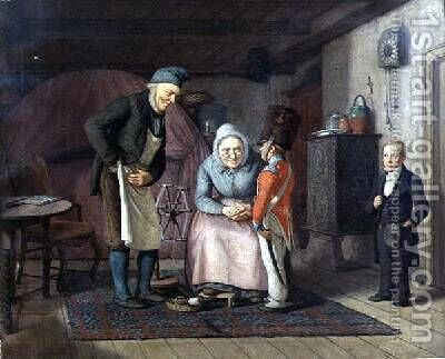 Visiting the Grandparents before First Communion by David Monies - Reproduction Oil Painting