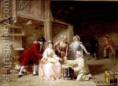 Group of musician actors gambling by Adolphe Francois Monfallet - Reproduction Oil Painting
