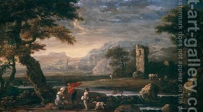 Landscape with a tower by Jan de Momper - Reproduction Oil Painting