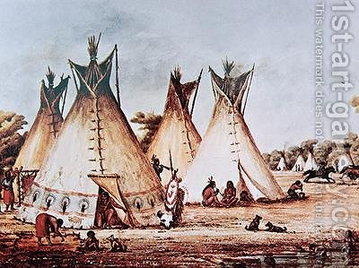 Village of the Kiowa Tribe by Baldwin Mollhausen - Reproduction Oil Painting