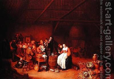 Peasants feasting in a Country Inn by Jan Miense Molenaer - Reproduction Oil Painting