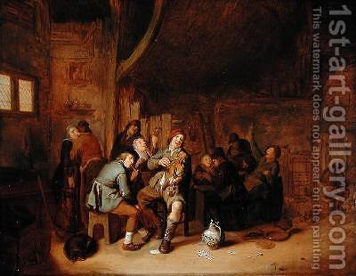 Figures smoking and playing Music in an Inn 2 by Jan Miense Molenaer - Reproduction Oil Painting