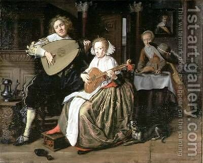 A Young Man Playing a Theorbo and a Young Woman Playing a Cittern by Jan Miense Molenaer - Reproduction Oil Painting
