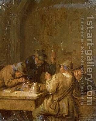 Peasants in a Tavern by Jan Miense Molenaer - Reproduction Oil Painting