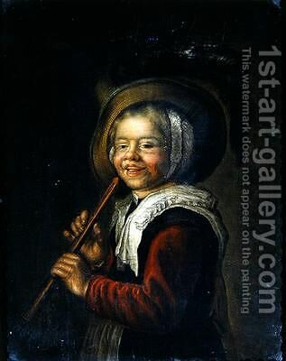 Girl with a recorder by Jan Miense Molenaer - Reproduction Oil Painting