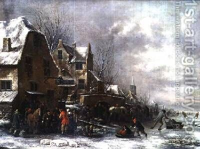 A Winter Landscape by Claes Molenaar (see Molenaer) - Reproduction Oil Painting