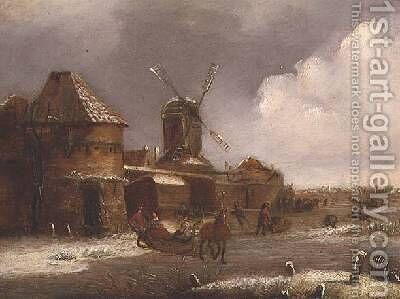 Winter Scene 2 by Claes Molenaar (see Molenaer) - Reproduction Oil Painting